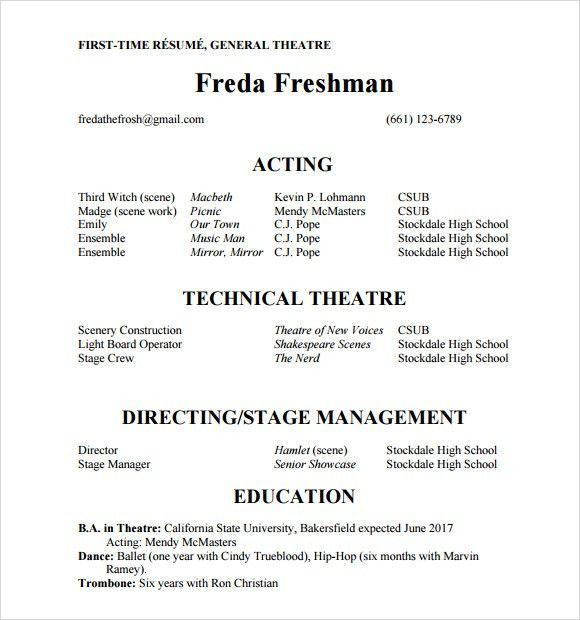 Appealing How To Write An Acting Resume With No Experience 30 On ...