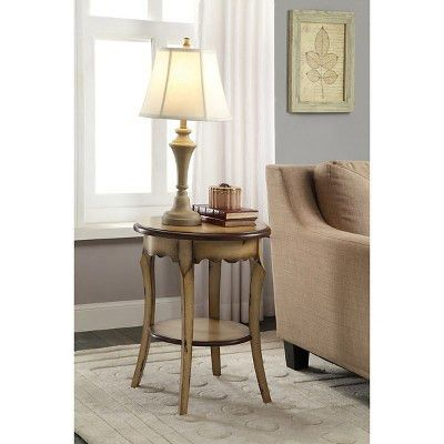 OSP Designs Roseville Two Tone Hand Finish Round Accent Table ...