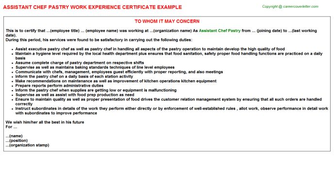 Assistant Chef Pastry Work Experience Certificate