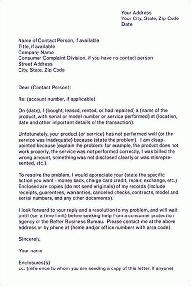 Complaint Letter: Consiumer Complaint Letter