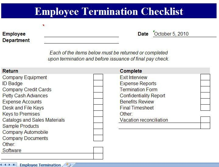 free employee termination form template