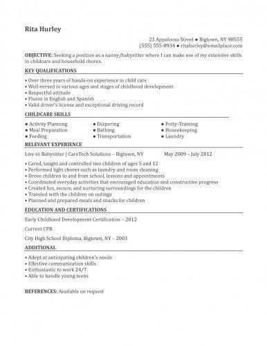 nanny resume sample template