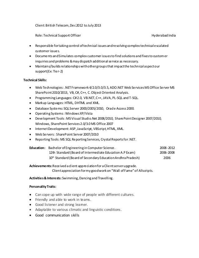 sharepoint developer resume sample