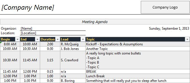 Time Agenda Template for Excel | Robert McQuaig Blog