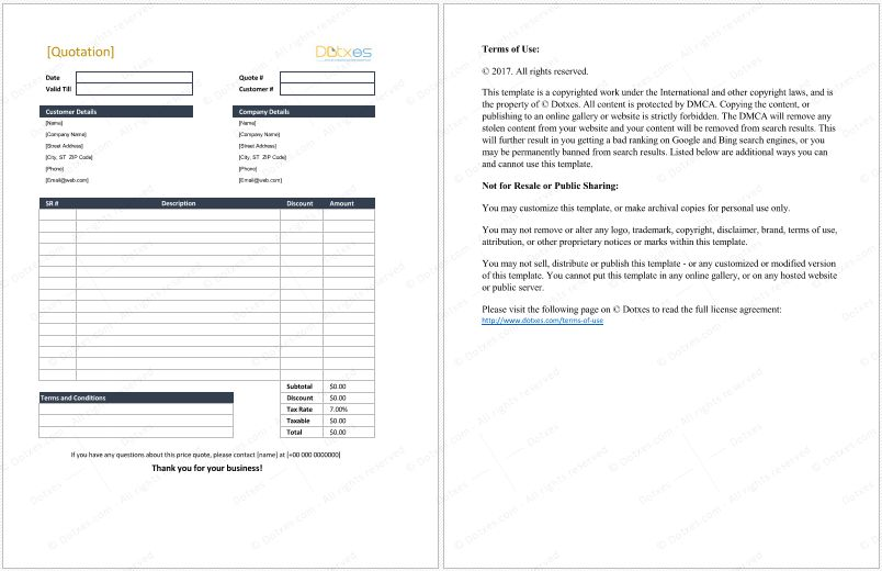 Quotation Template - 14 Quote Templates for Word, Excel and PDF
