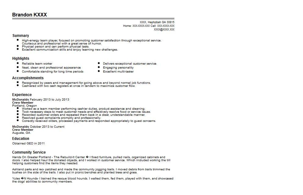 mcdonalds resume sample unforgettable crew member resume examples