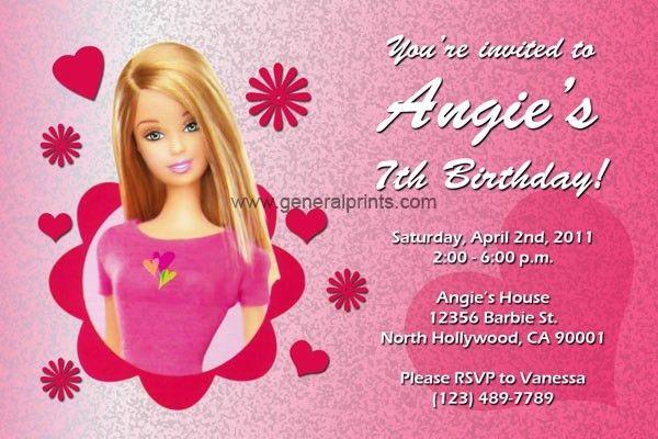 Barbie Birthday Invitation Card Free Printable ...