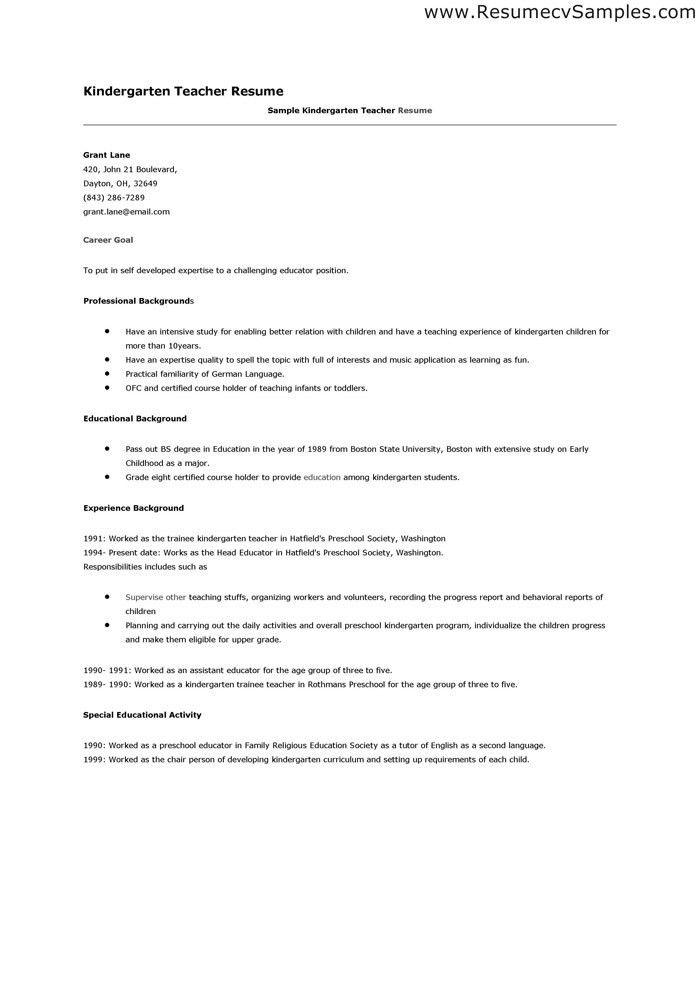 kindergarten teacher description kindergarten teacher resume