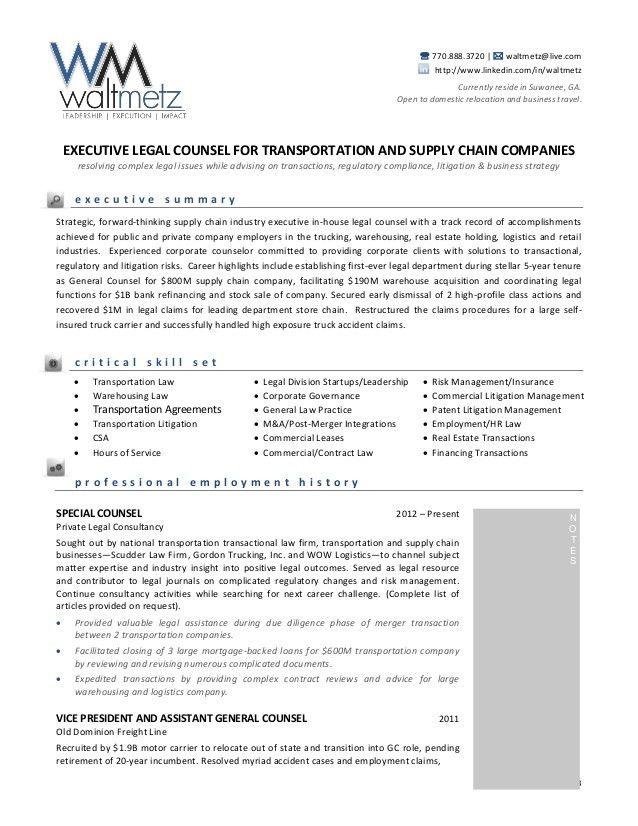 Walt Metz Transportation Resume