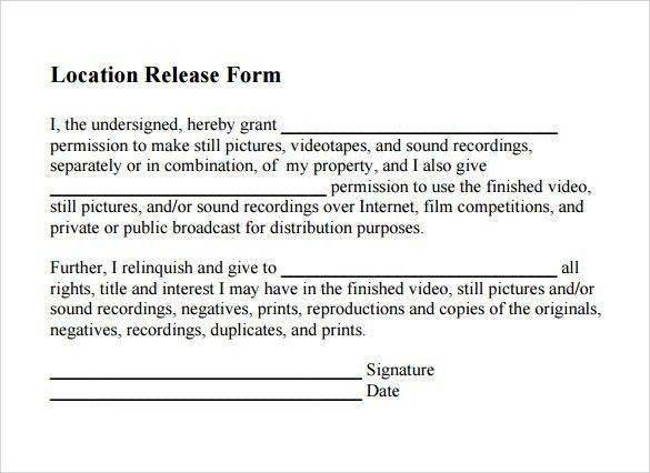 Sample Location Release Form - 19+ Download Free Documents in PDF ...