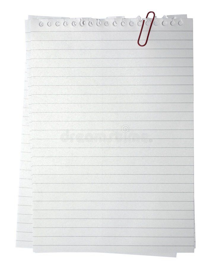 Note Paper Isolated On White Background Blank Pad Notebook Page ...