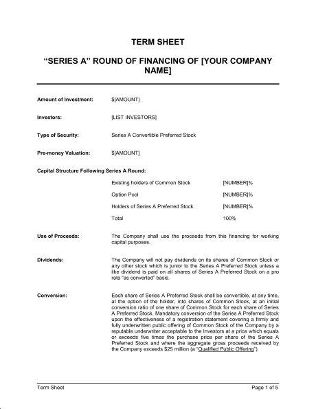 Term Sheet - Template & Sample Form | Biztree.com