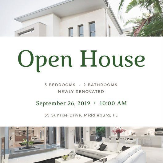 White Simple Open House Invitation - Templates by Canva