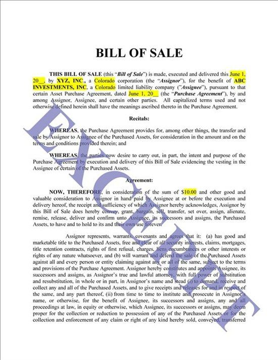 Bill Of Sale/Assets: REALCREFORMS