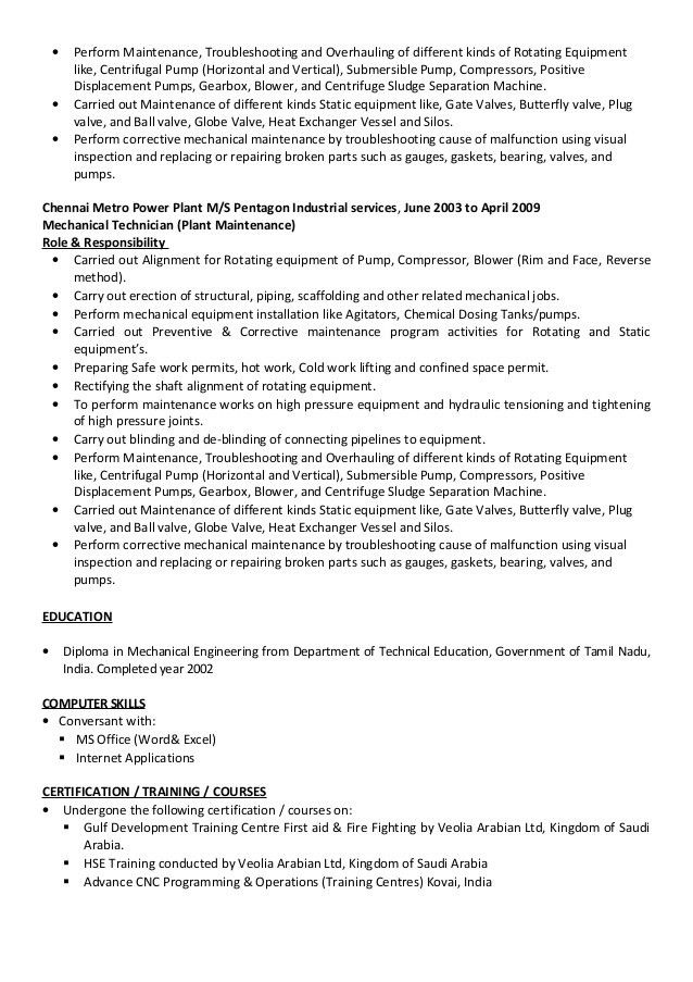 Mechanical Technician CV