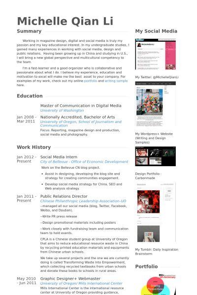 Social Media Intern Resume samples - VisualCV resume samples database