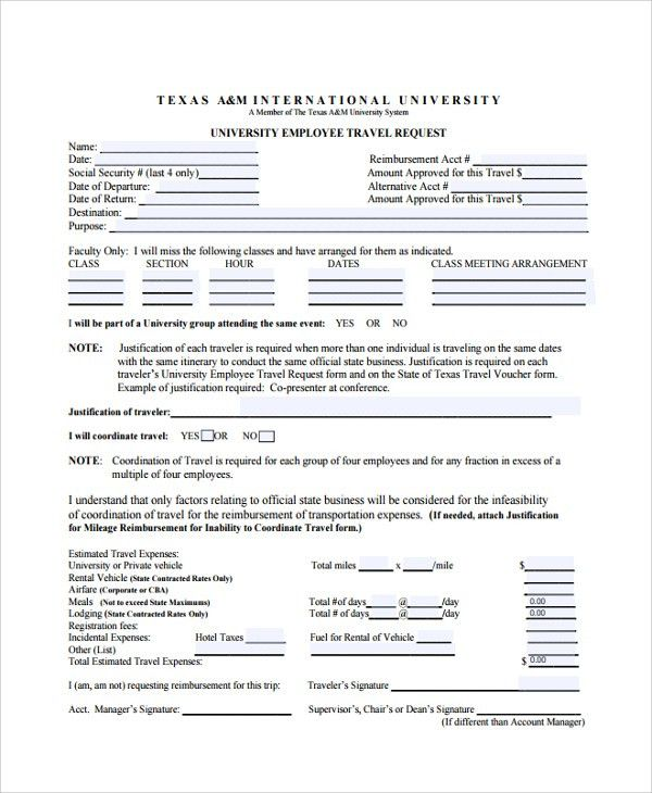 Sample Travel Request Form   9+ Free Documents Download In PDF, Word