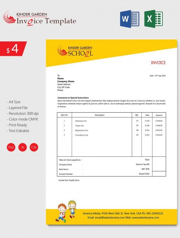 Enticing Kindergarten School Invoice Template Download | Free ...