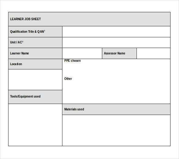 Template Sheet. job sheet template 22 free word excel pdf ...