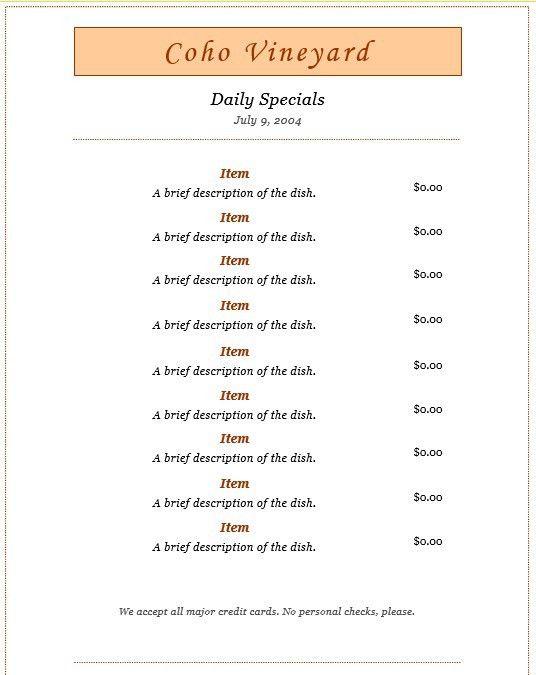 7 Free Sample Dinner Menu Templates – Printable Samples