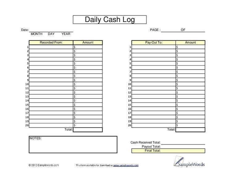 cash register till balance shift sheet in out template - Google ...