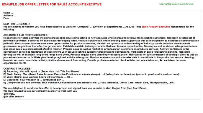 Comcast Account Executive Offer Letters