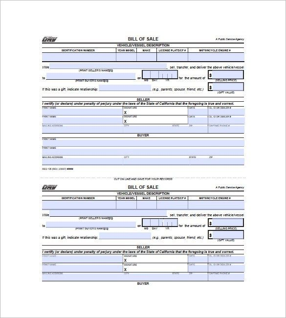 Bill of Sale Form – 10+ Free Word, Excel, PDF Format Download ...