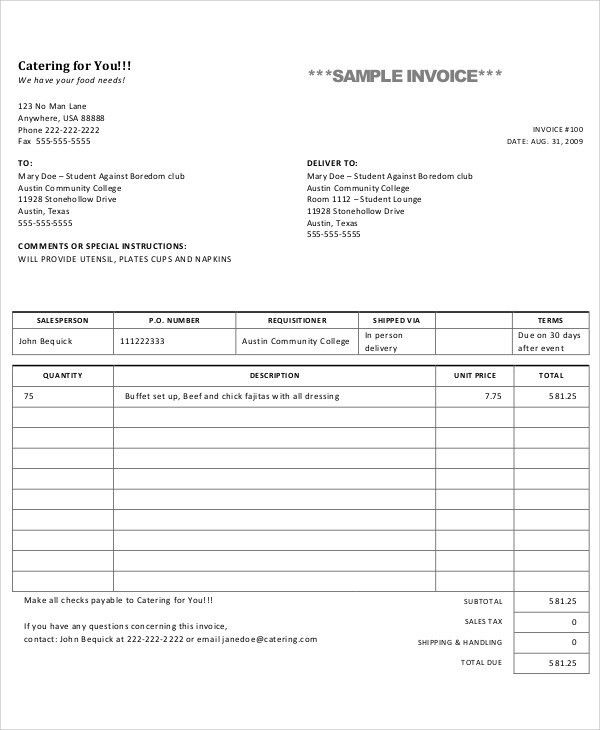 8+ Catering Invoice Templates - Free Sample, Example Format ...