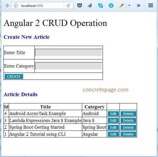 Boot REST + Angular 2 + JPA + Hibernate + MySQL CRUD Example