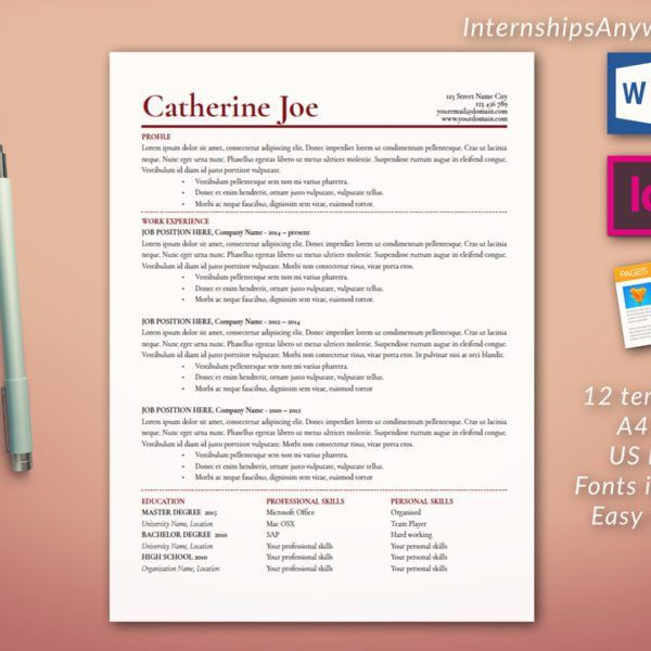 Resume Template Including Cover Letter and References Template ...