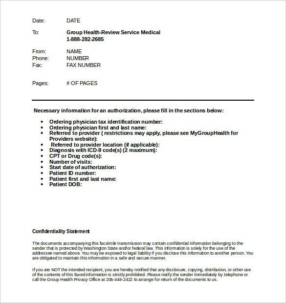 Medical Fax Cover Sheet – 9+ Free Word, PDF Documents Download ...