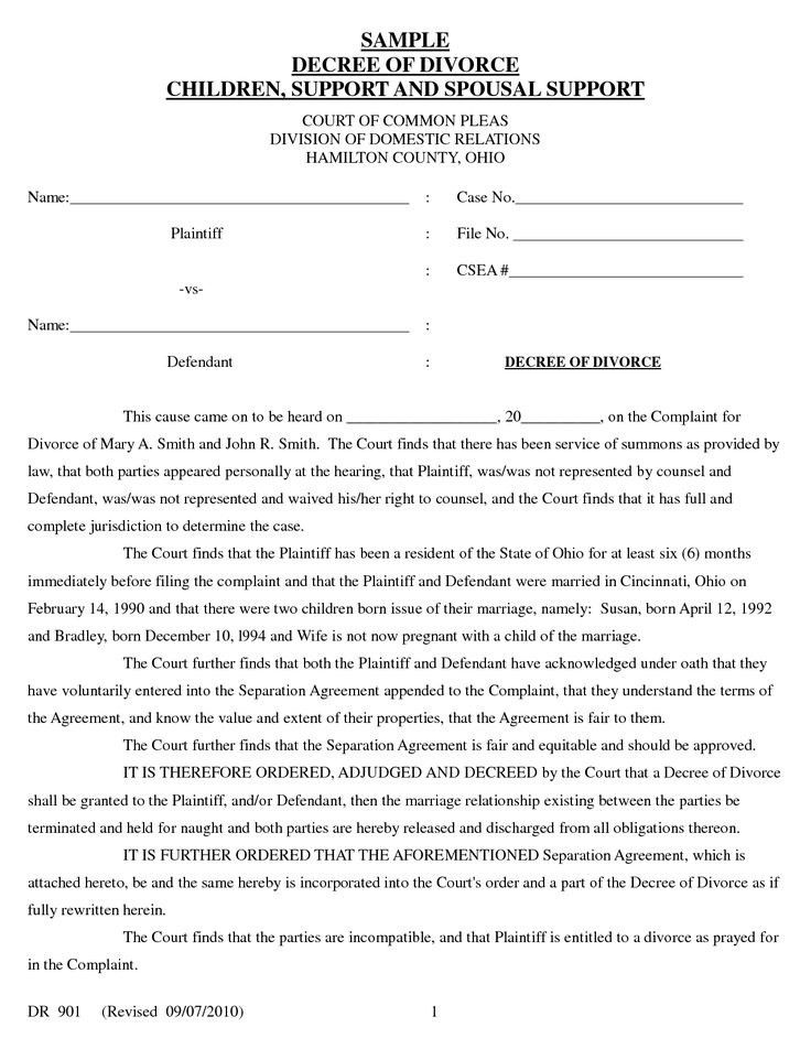 Divorce Decree Template | emailfaxreview.com
