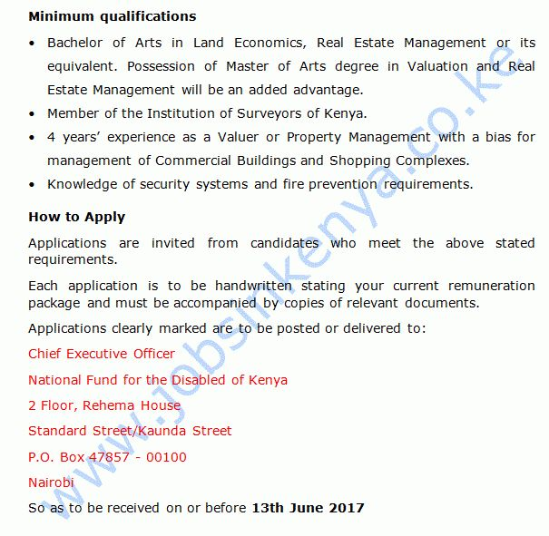 National Fund for the Disabled of Kenya Property Manager Job ...