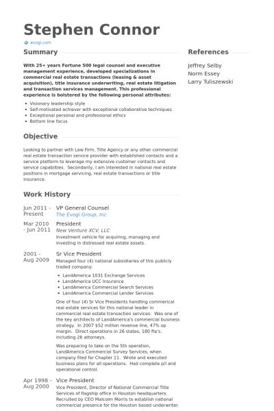 General Counsel Resume samples - VisualCV resume samples database