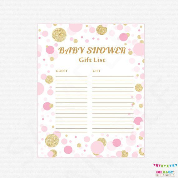 Pink and Gold Baby Shower Gift List Printable Gift List Baby