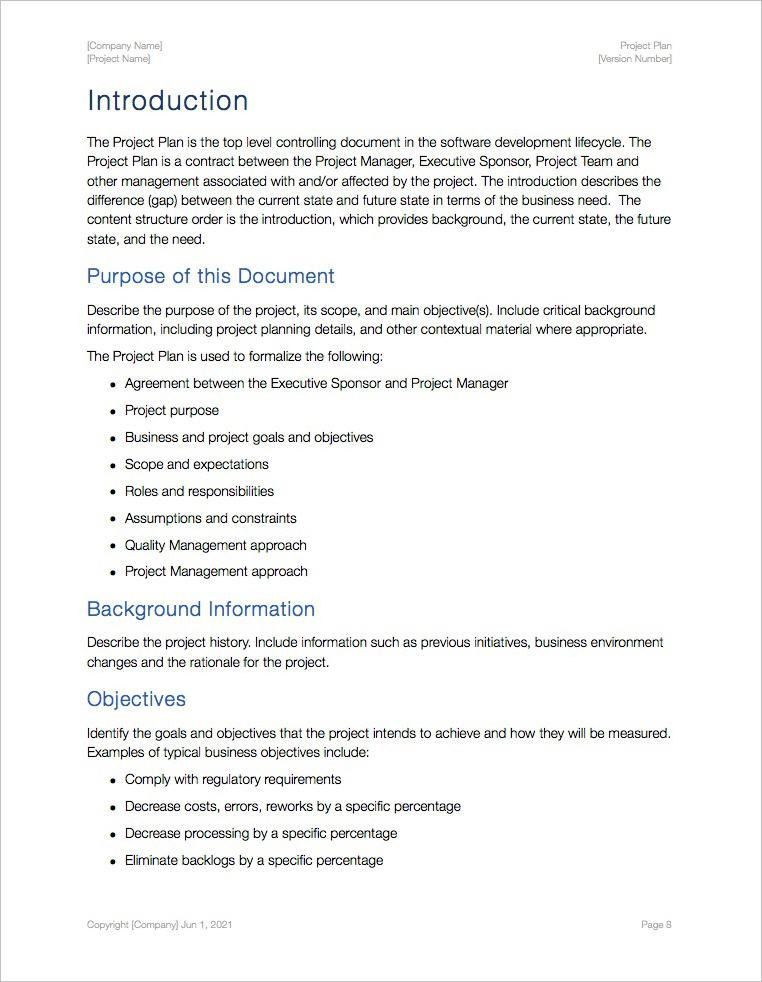 Project Plan Template (Apple iWork Pages/Numbers)