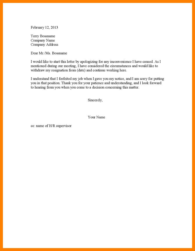 8+ resignation retraction letter | resume emails