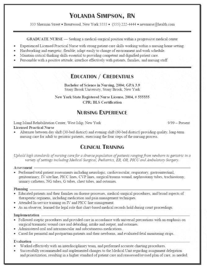 Sample Resume for a New Grad RN  nursecodecom
