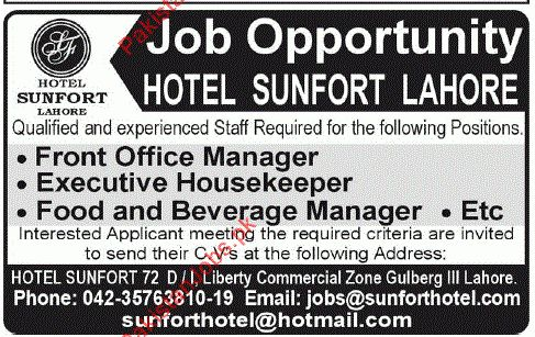 Front Office Manager, Executive Housekeeper, F&B Manager - Sunfort ...
