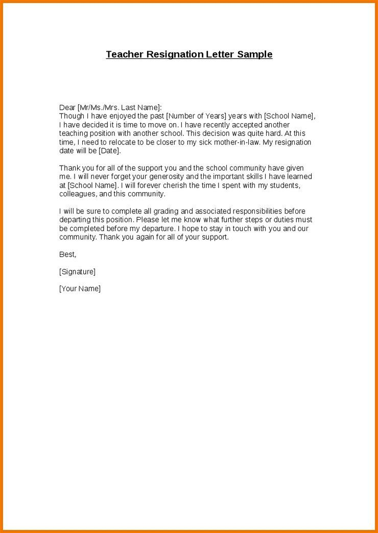 7 Teacher Letter Of Resignation Academic Resume Template ...
