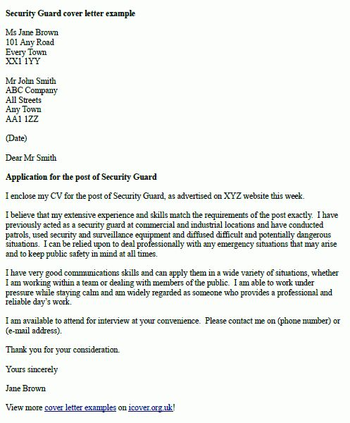 Security officer cover letter uk