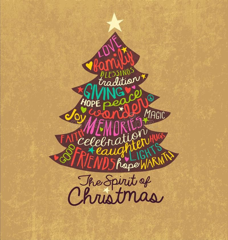 Christmas Card Word Cloud Tree Design Stock Vector - Image: 46279398