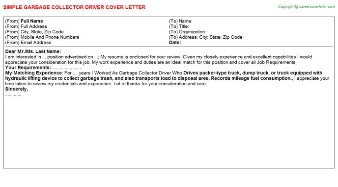 Garbage Collector Driver Cover Letter