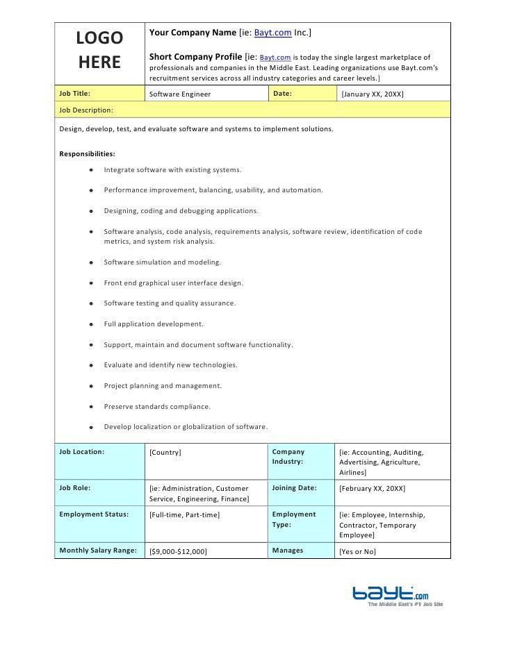 Software Engineer Job Description Template by Bayt.com