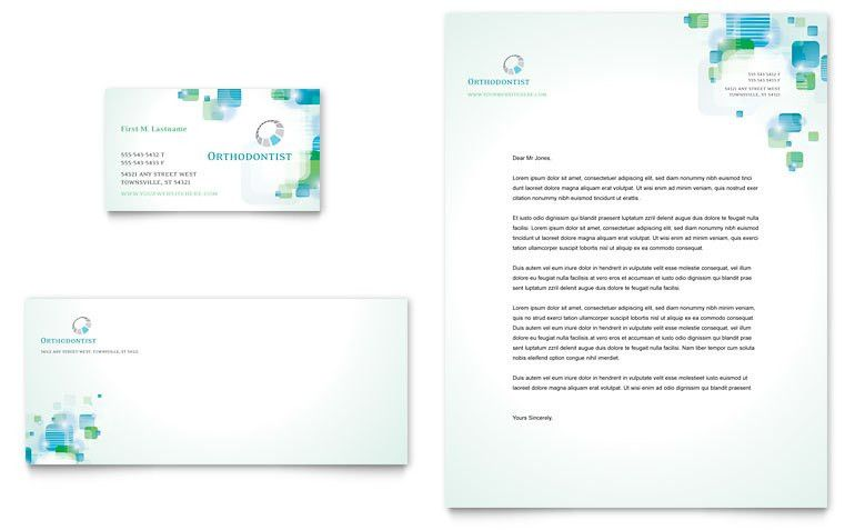 Orthodontist Business Card & Letterhead Template - Word & Publisher