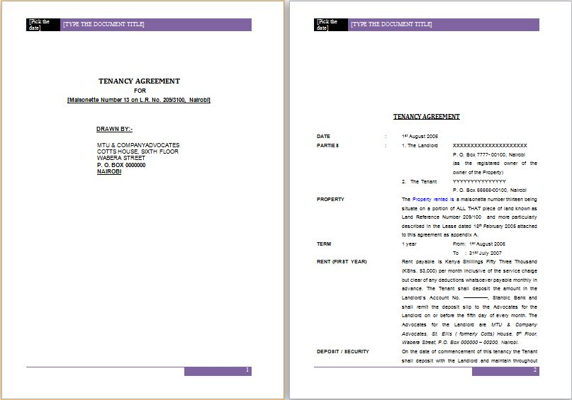 Official Tenancy Agreement Template MS Word | Word Document Templates