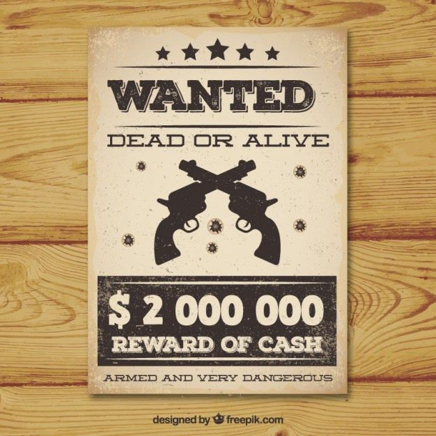 Vintage wanted poster with two guns Vector | Free Download