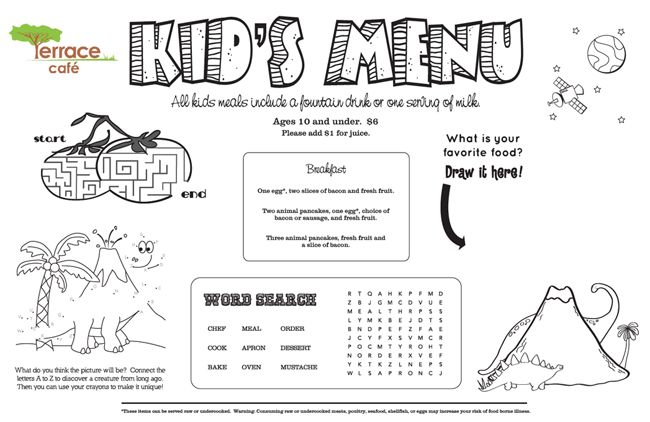 Kids' Menu, Kid Menu Designs, Kid Menu Templates - MustHaveMenus