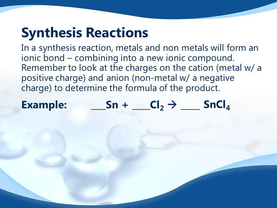 Predicting Products of Chemical Reactions. Synthesis Reactions ...