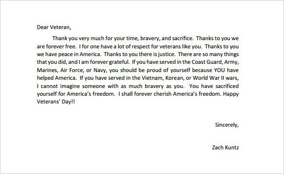 Letters To Veterans Examples | articleezinedirectory